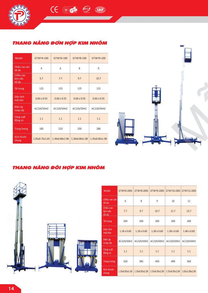 Thông số kỹ thuật Thang nâng đơn hợp kim nhôm