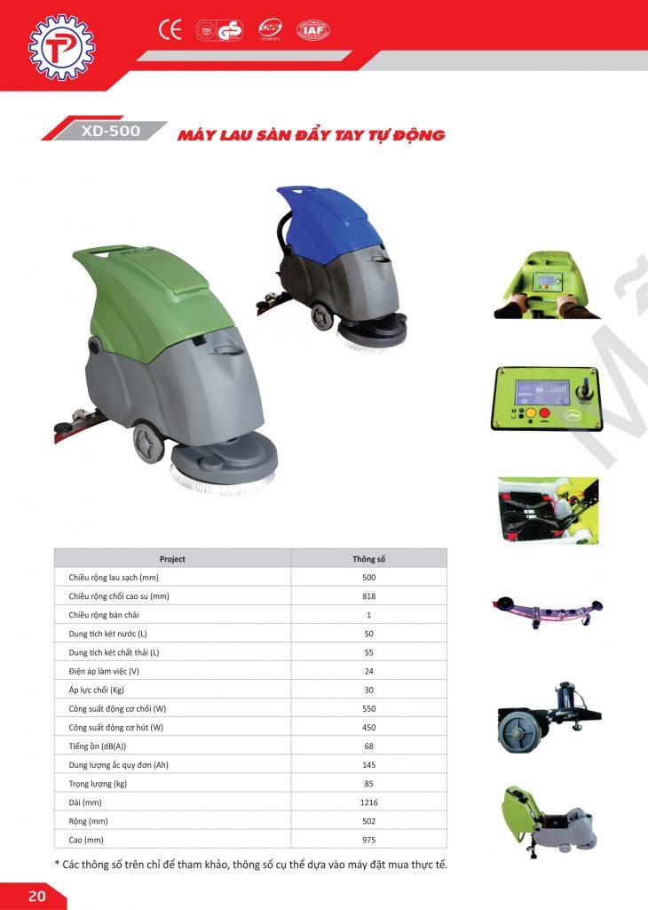 Thông số kỹ thuật xe đẩy lau sàn XD-500