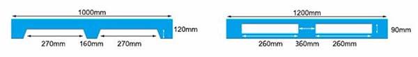 Kích thước Pallet nhựa 1200x1000x155mm