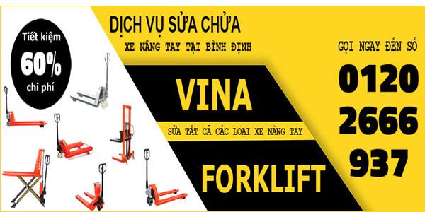 Dịch vụ sửa chữa xe nâng tay tại Bình Định của Vina-Forklift